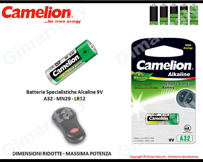 Batterie Specialistiche A32-MN29-LR32 Alcaline Camelion