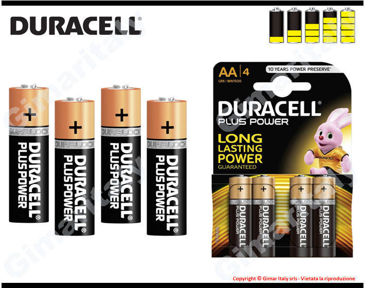 Batterie Pile Stilo AA LR6 Alcaline Duracell Plus Power