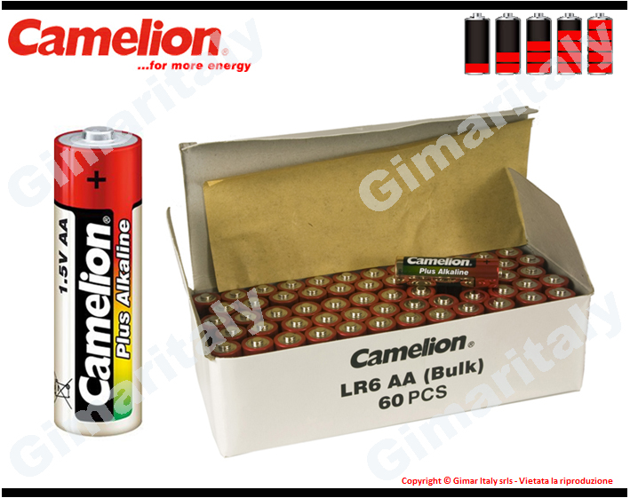 Batterie Pile Stilo AA LR6 Alcaline box 60 Camelion