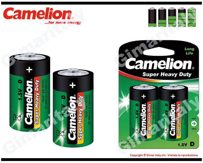 Batterie Pile R20 D Torcia Super Heavy Duty 1.5V Camelion