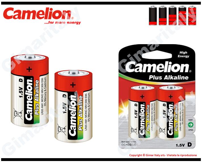 Batterie Pile R20 D Torcia Alcaline 1,5V Camelion