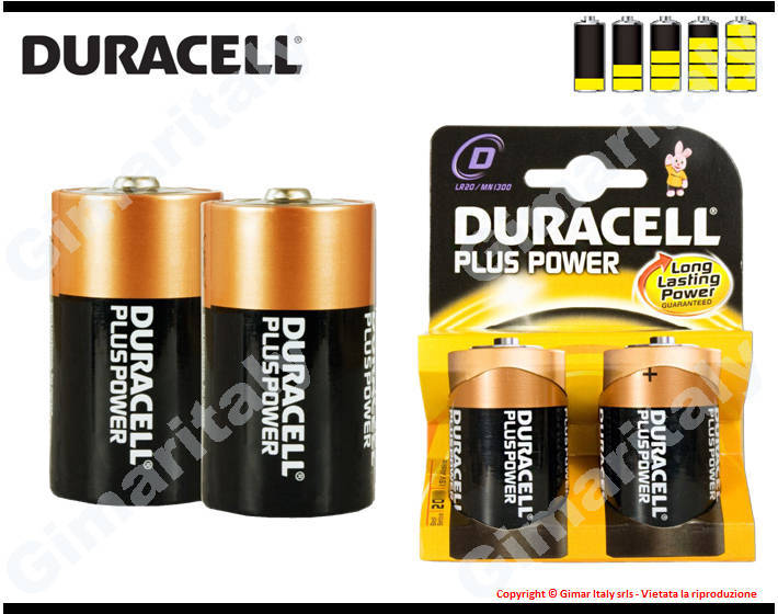 Batterie Pile R20 D Torcia Alcaline 1,5V Duracell Plus Power