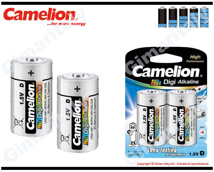 Batterie Pile R20 D Torcia Digi Alcaline 1,5V Camelion