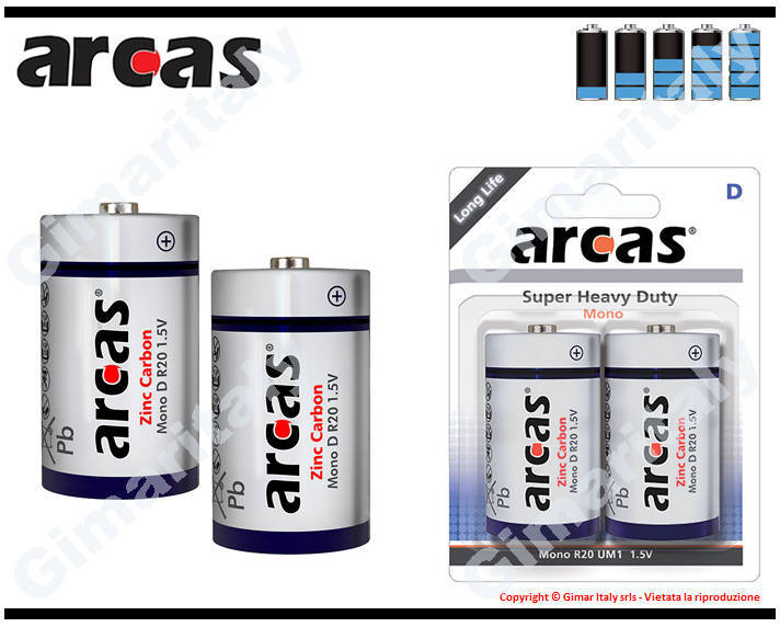 Batterie Pile R20 D Torcia Super Heavy Duty 1.5V Arcas