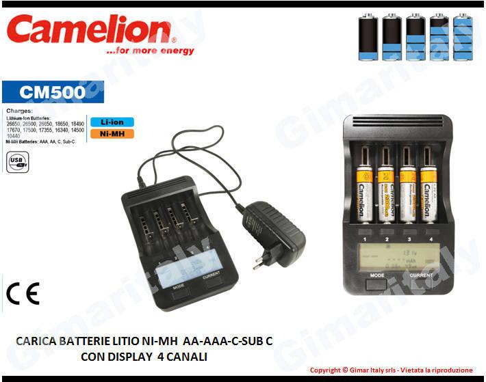 Caricabatterie Litio Stilo AA Ministilo AAA Mezzatorcia C Sub C Camelion CM-500