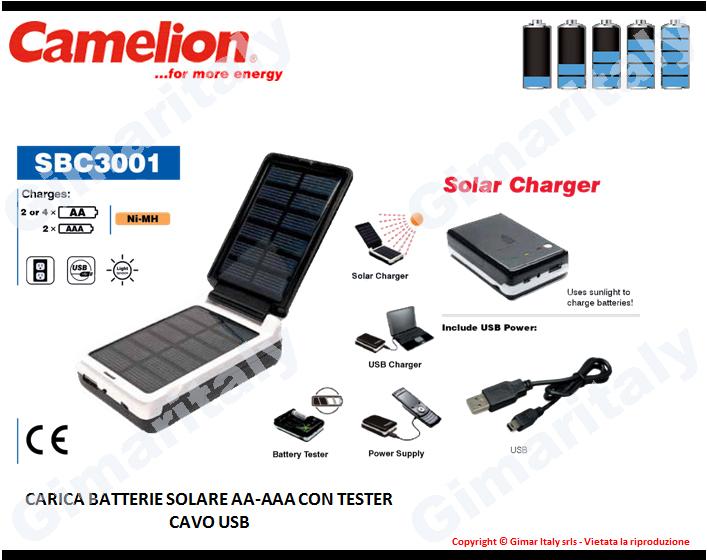 Caricabatterie Solare Stilo AA e Ministilo AAA Camelion SBC-3001