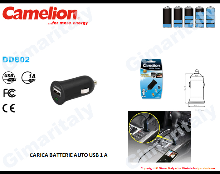Caricabatterie auto 12V USB 1A Camelion DD802