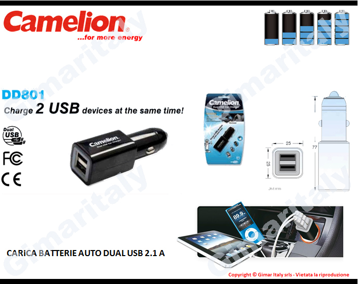 Caricabatterie auto 12V USB 2.1A Camelion DD801