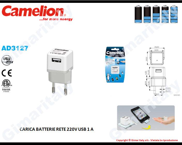 Caricabatterie da rete 220V USB 1A Camelion AD3127