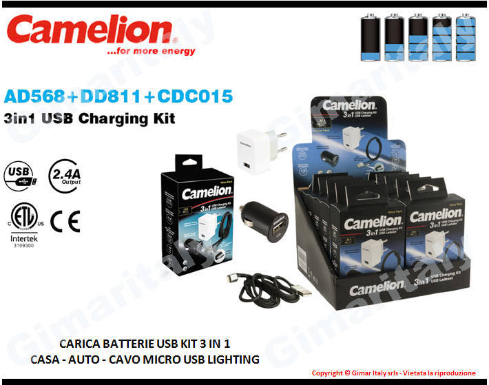 Caricabatterie universale 3 in 1 auto-rete-cavo USB Camelion