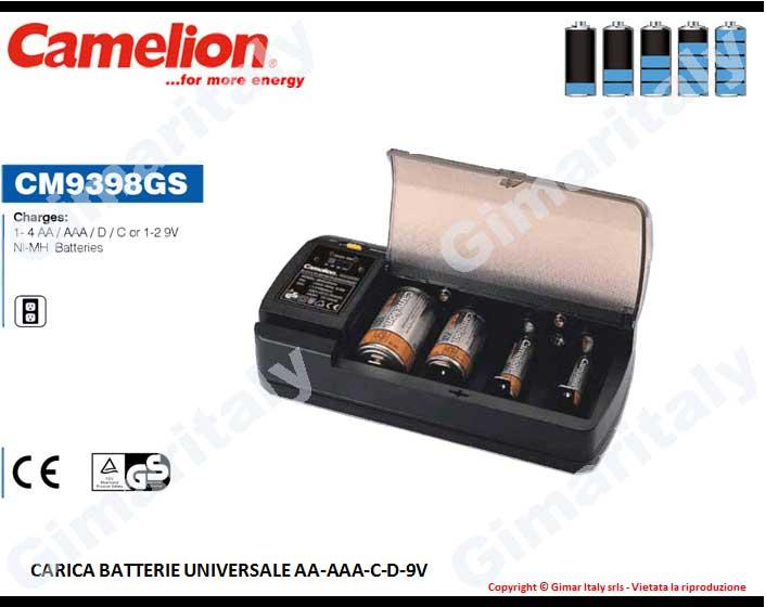 Caricabatterie Stilo AA Ministilo AAA Mezzatorcia C Torcia D 9V Transistor Camelion CM-9398