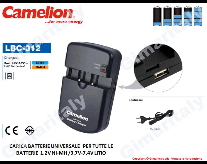 Caricabatterie Universale Regolabile Ni-Mh e Litio con USB Camelion