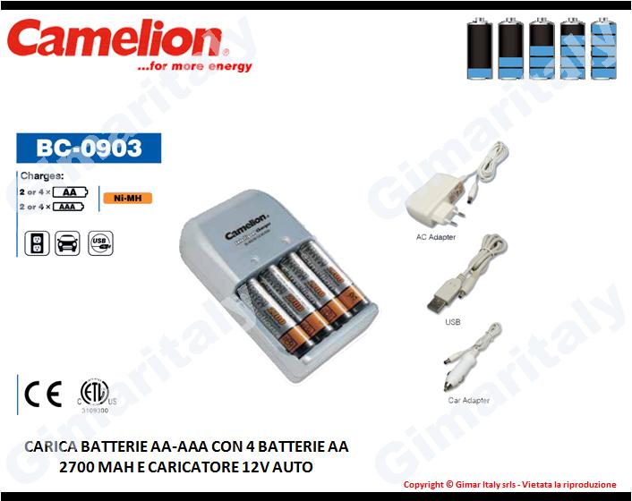 Caricabatterie Stilo AA e Ministilo AAA con plug 12V Camelion BC-0903