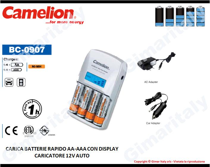 Caricabatterie Stilo AA e Ministilo AAA con display Camelion BC-0907