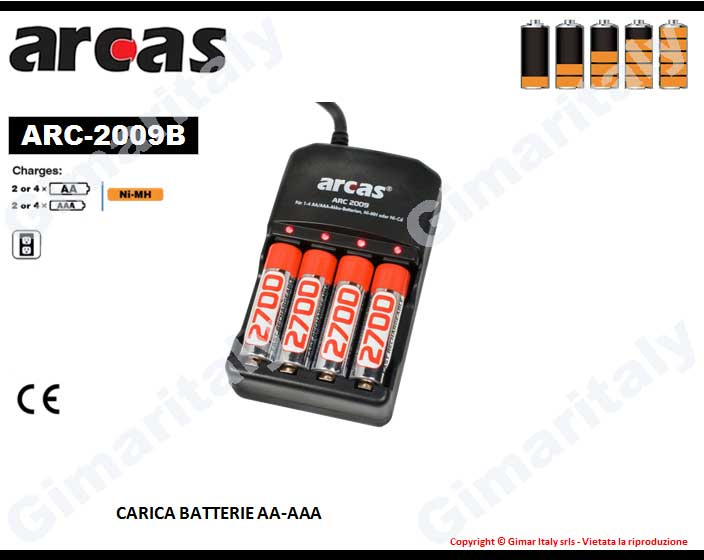 Caricabatterie Stilo AA e Ministilo AAA con 4 batterie 2300 mAh Arcas ARC-2009