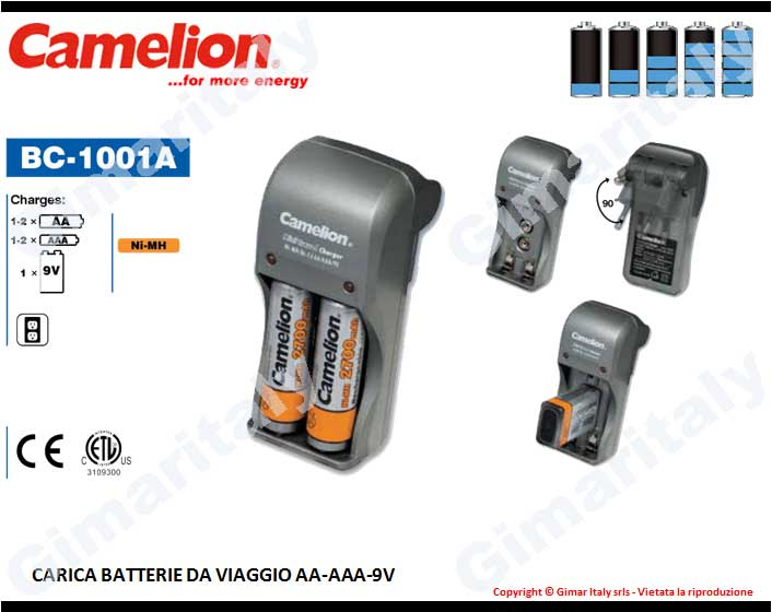 Caricabatterie Stilo AA Ministilo AAA 9V Transistor Camelion BC-1001
