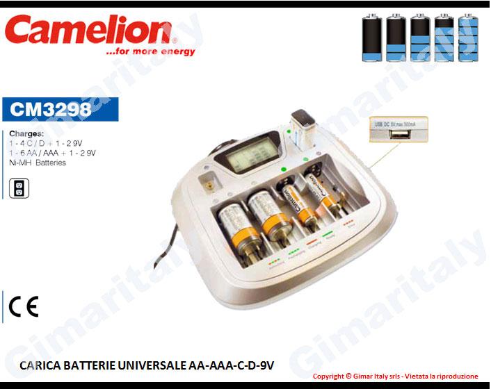Caricabatterie Stilo AA Ministilo AAA Mezzatorcia C Torcia D 9V Transistor Camelion CM-3298