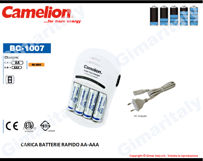 Caricabatterie Stilo AA e Ministilo AAA Camelion BC-1007