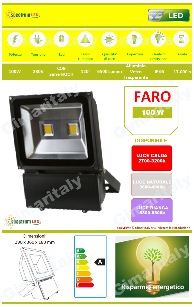 Faro Led 100W IP65 Colore Nero Spectrum