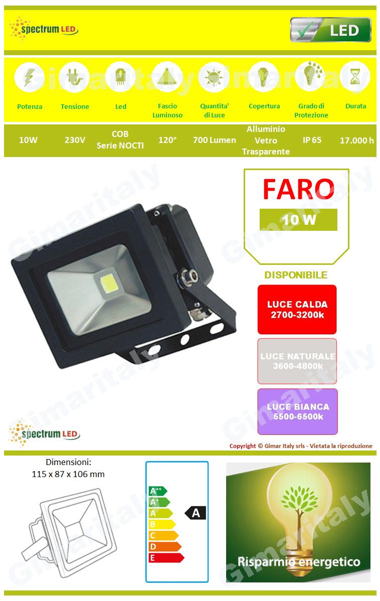 Faro Led 10W IP65 Colore Nero Spectrum