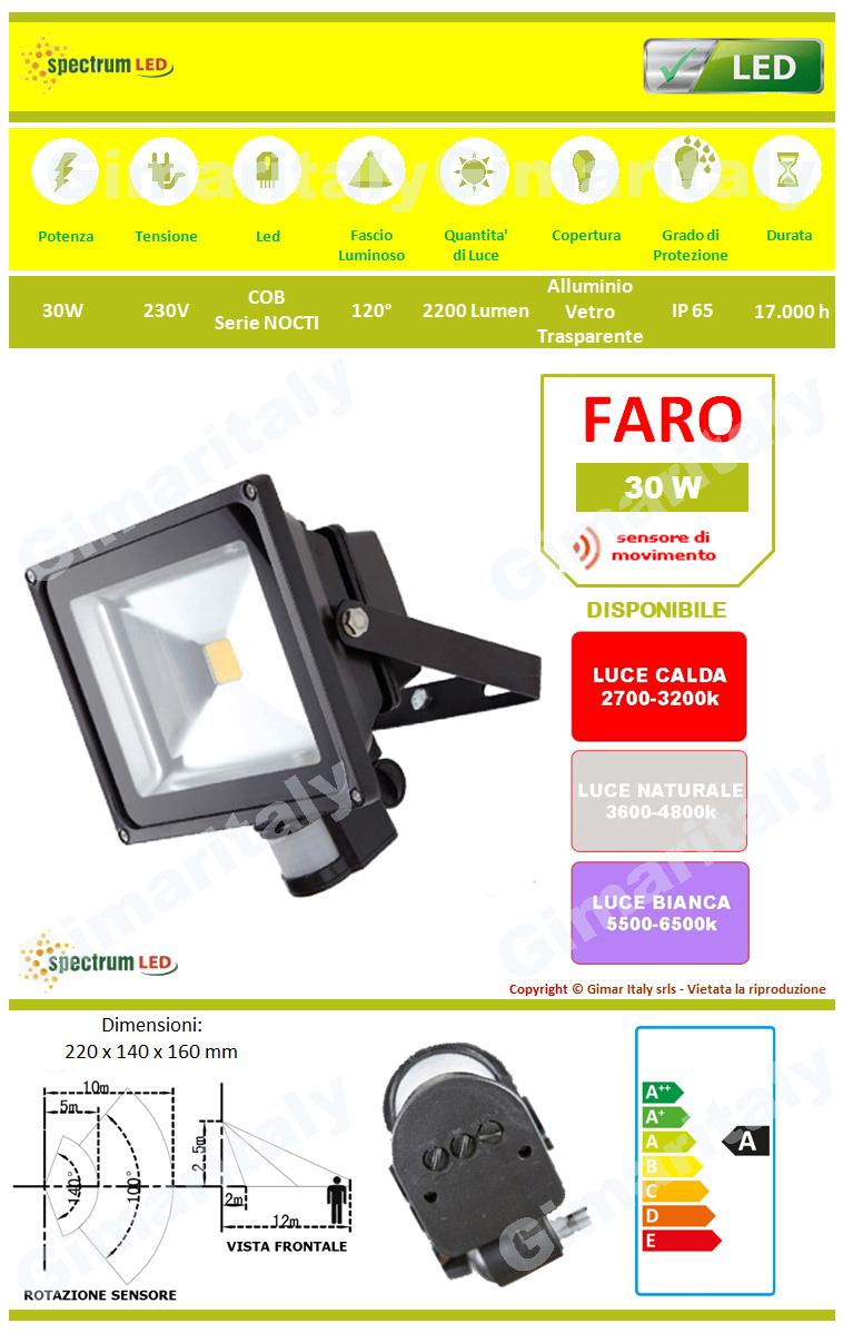 Faro Led 30W IP65 con Sensore colore Nero Spectrum
