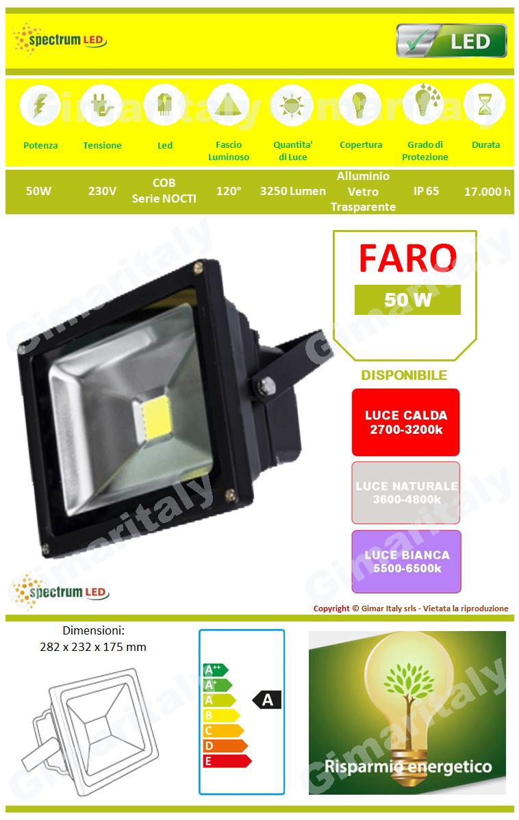 Faro Led 50W IP65 Colore Nero Spectrum