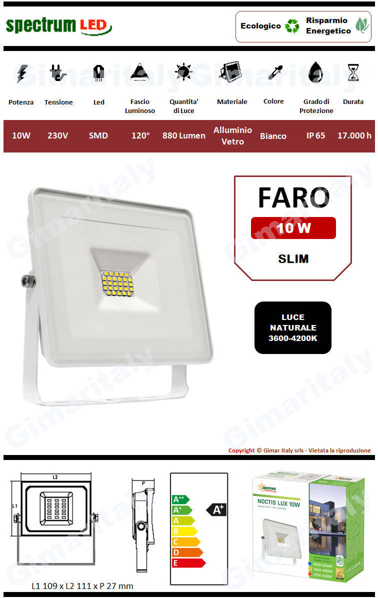 Faro Led 10W Slim Bianco luce naturale Spectrum