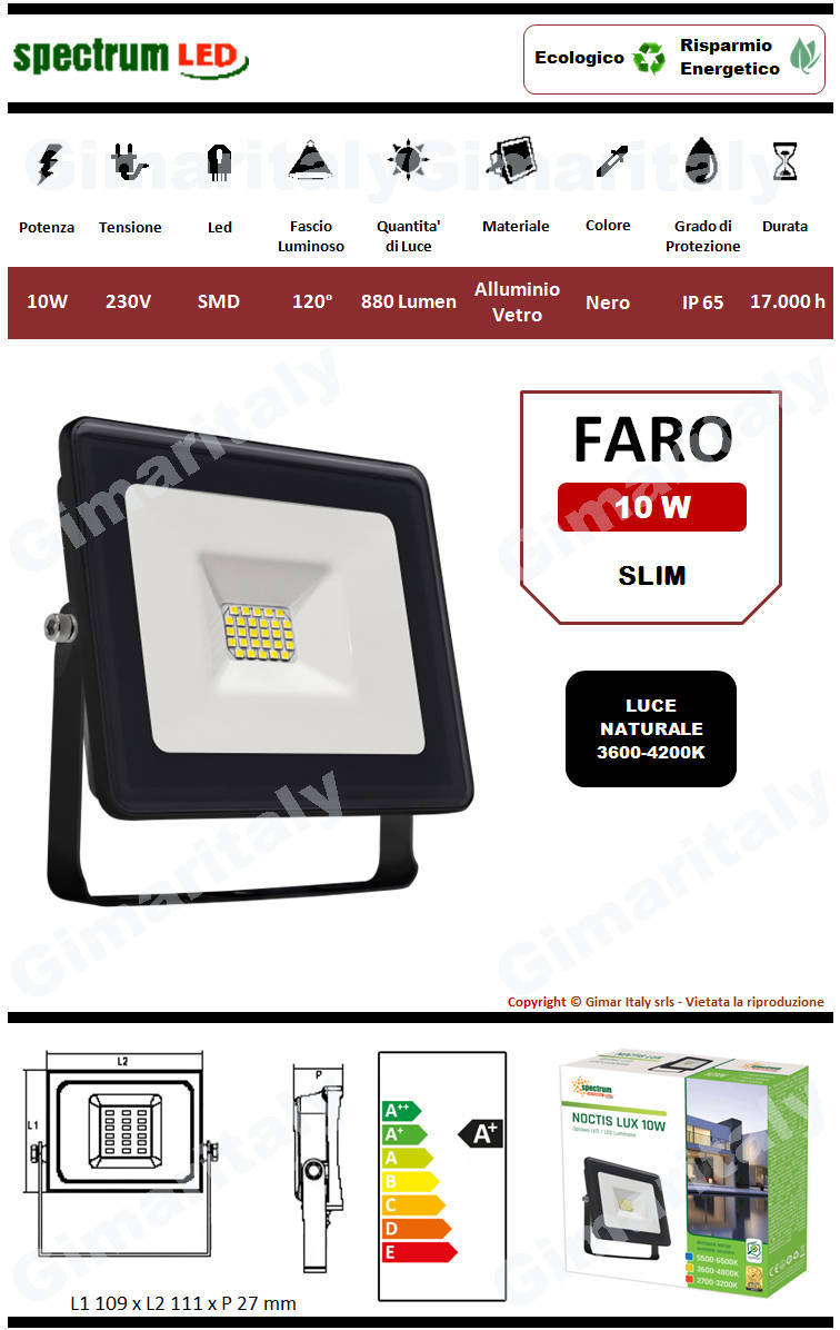Faro Led 10W Slim Nero luce naturale Spectrum