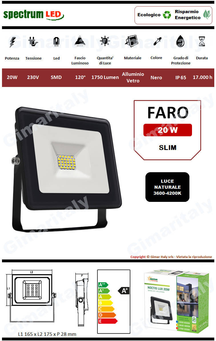 Faro Led 20W Slim Nero luce naturale Spectrum