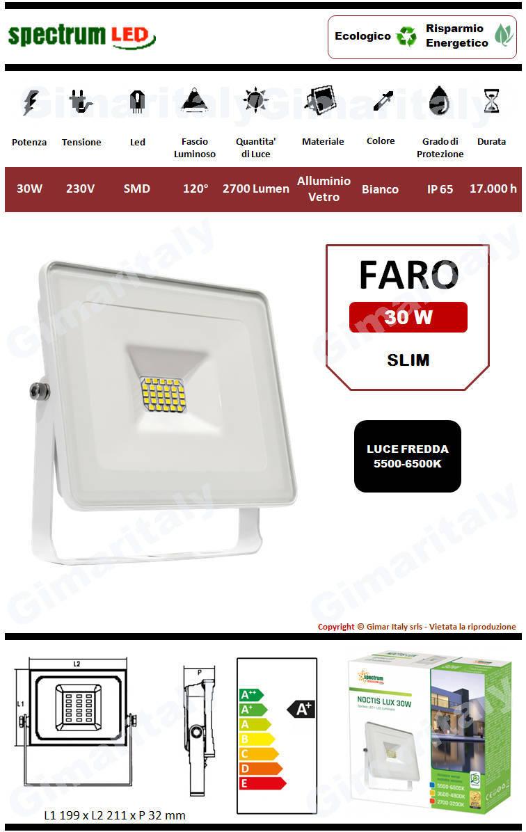 Faro Led 30W Slim Bianco luce fredda Spectrum