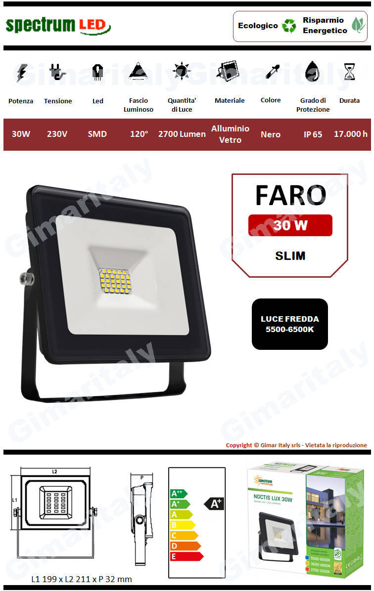Faro Led 30W Slim Nero luce fredda Spectrum
