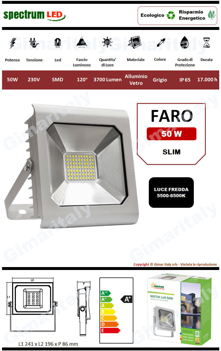 Faro Led 50W Slim Grigio luce fredda Spectrum