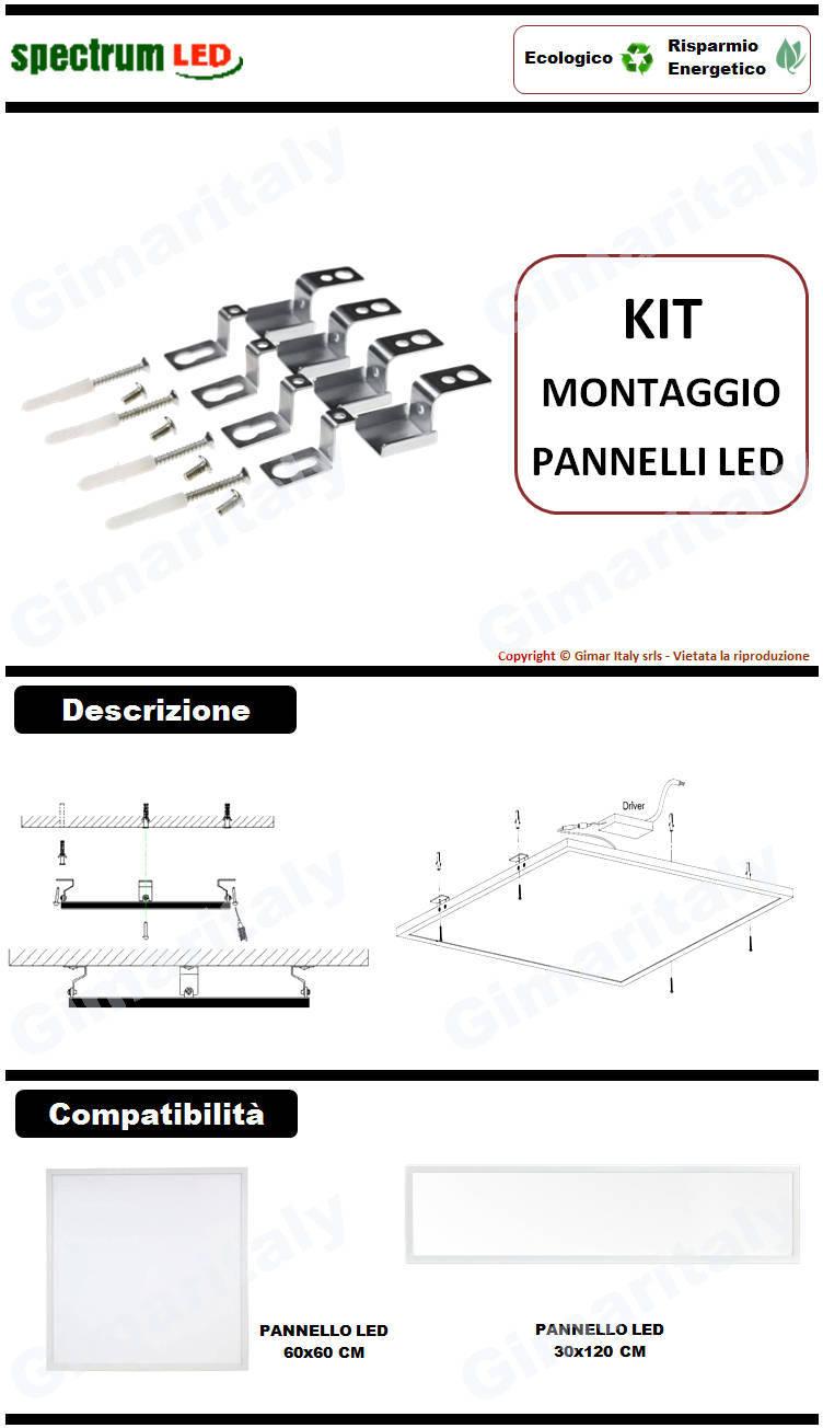 Kit montaggio soffitto parete pannelli Led 60x60 Spectrum