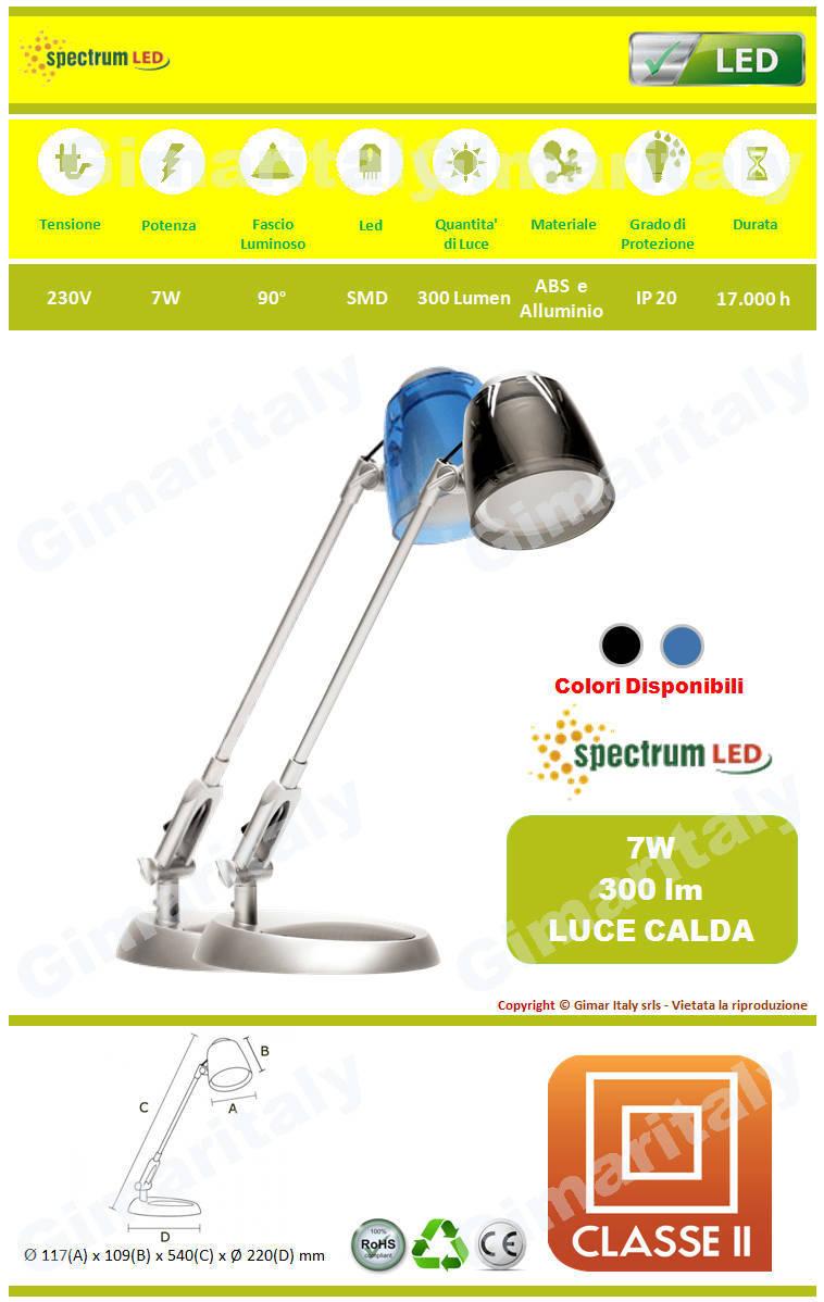 Lampada da Tavolo e Scrivania 7W luce calda Spectrum SLI042003
