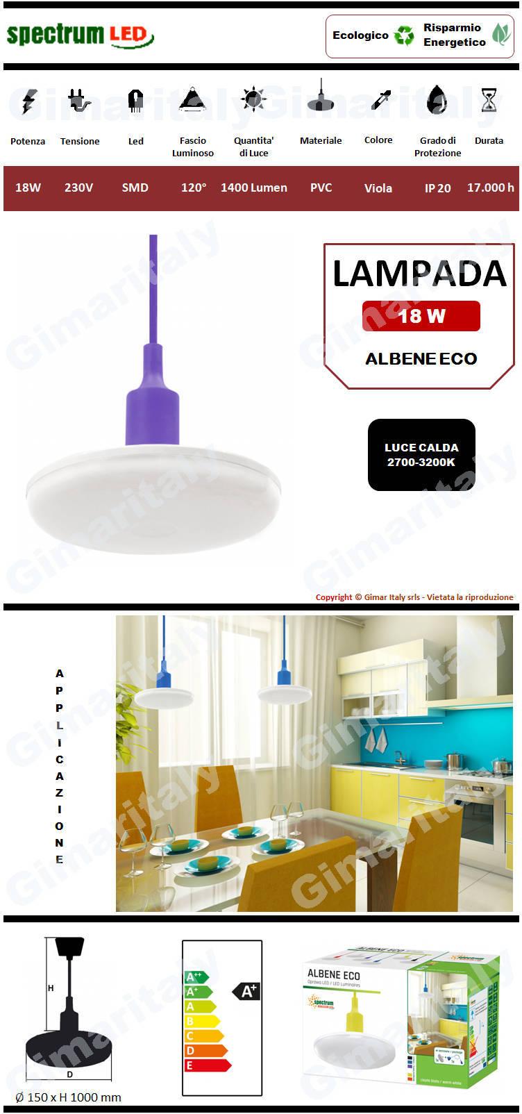 Lampadario Sospensione Led 18W Viola luce calda Spectrum