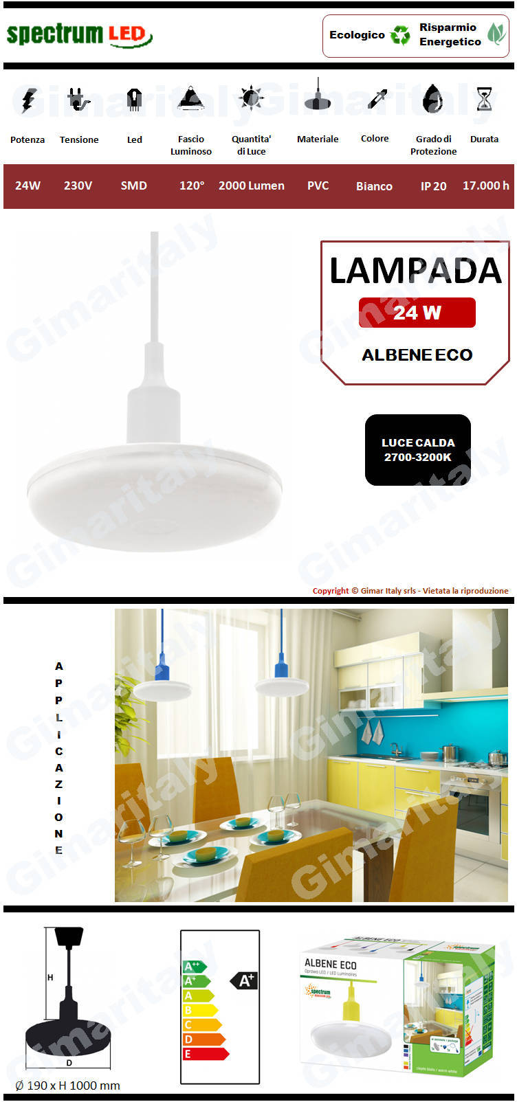 Lampadario Sospensione Led 24W Bianco luce calda Spectrum