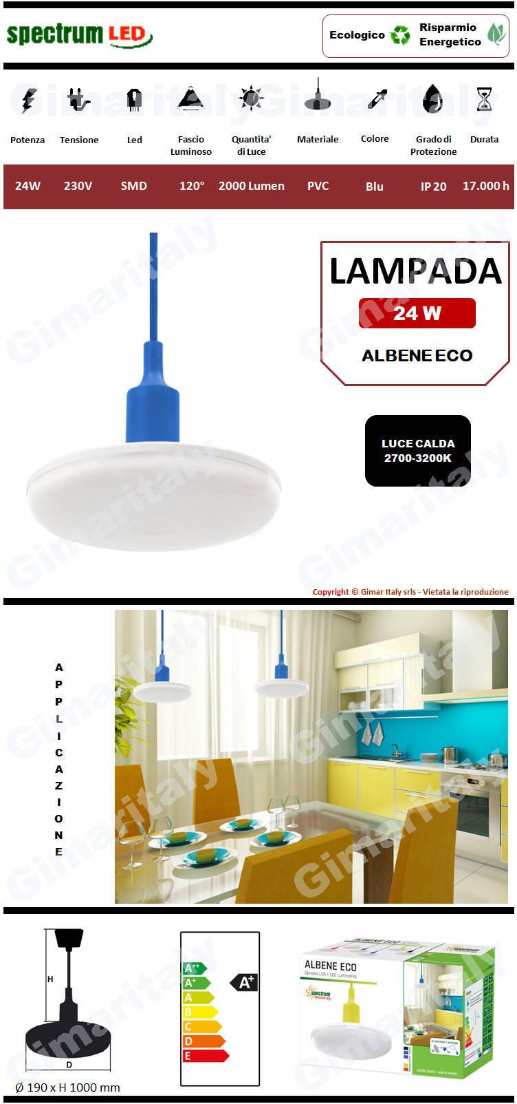 Lampadario Sospensione Led 24W Blu luce calda Spectrum