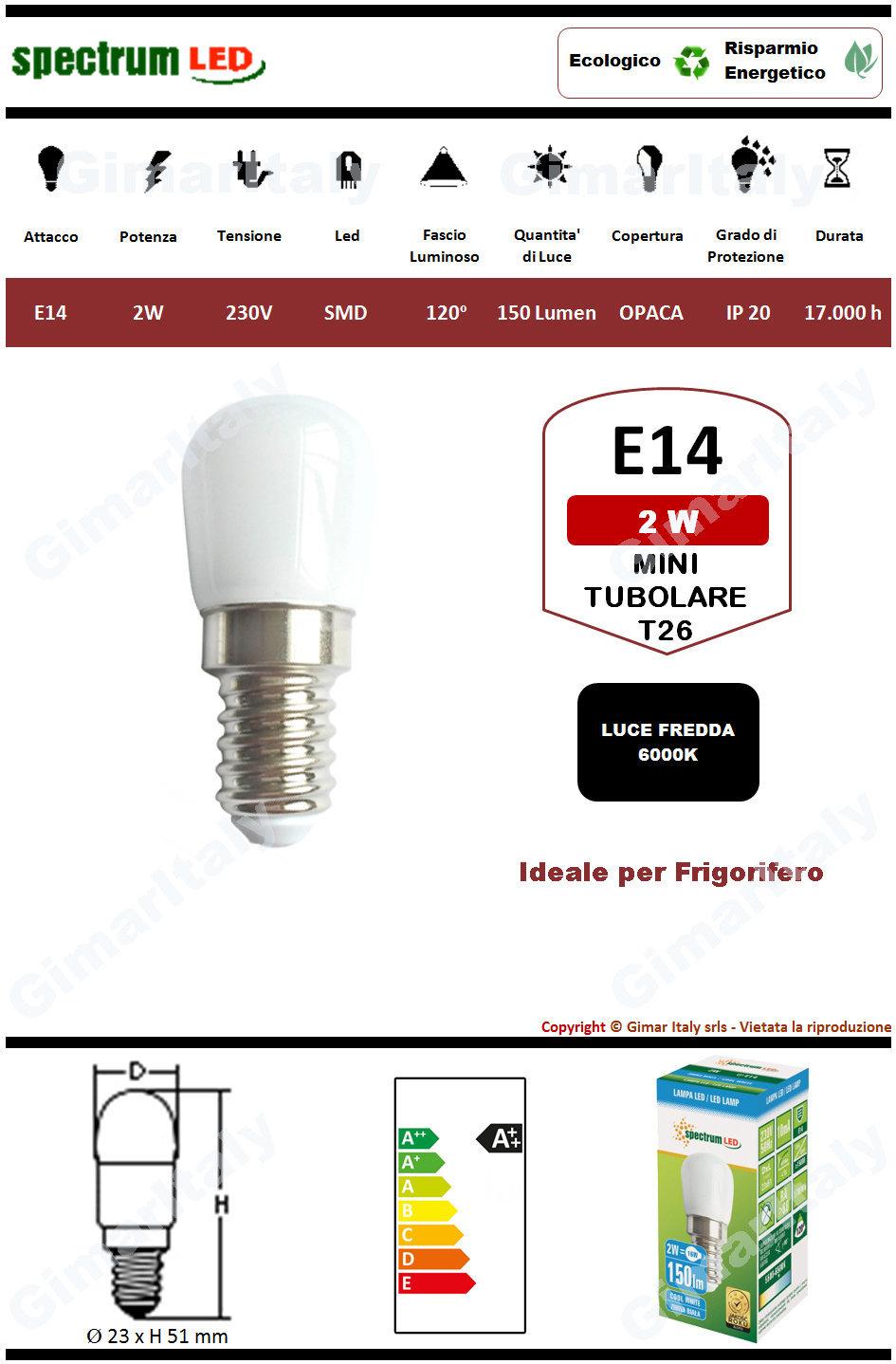 Lampadina Led E14 tubolare T26 2W luce fredda Spectrum