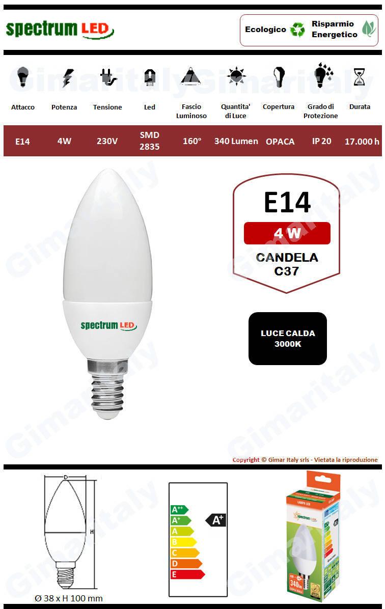 Lampadina Led E14 candela C37 4W luce calda Spectrum