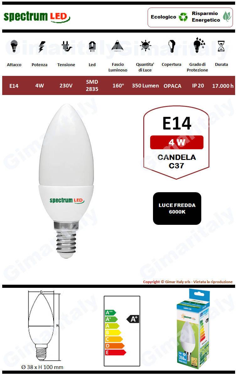Lampadina Led E14 candela C37 4W luce bianca Spectrum