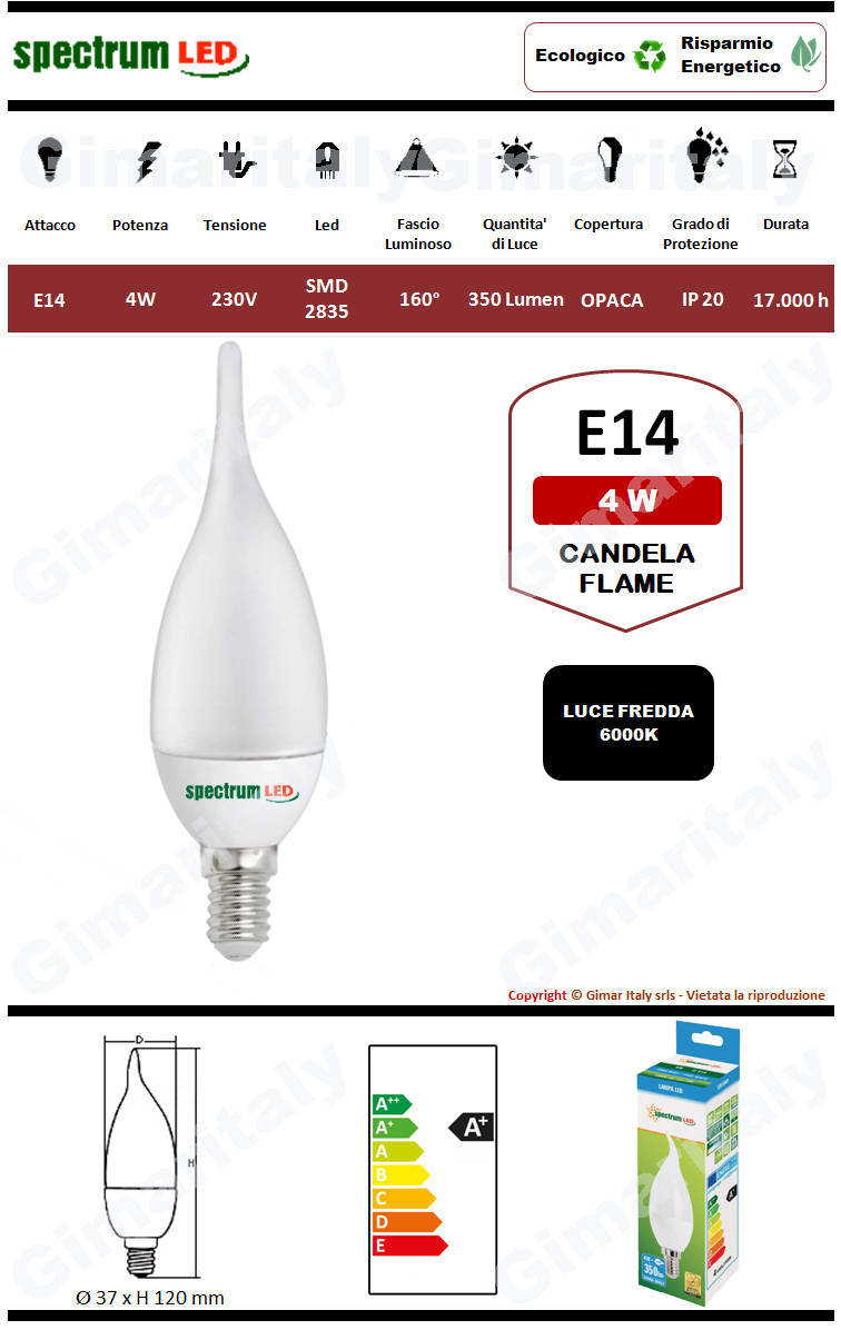 Lampadina Led E14 fiamma C37 4W luce bianca Spectrum