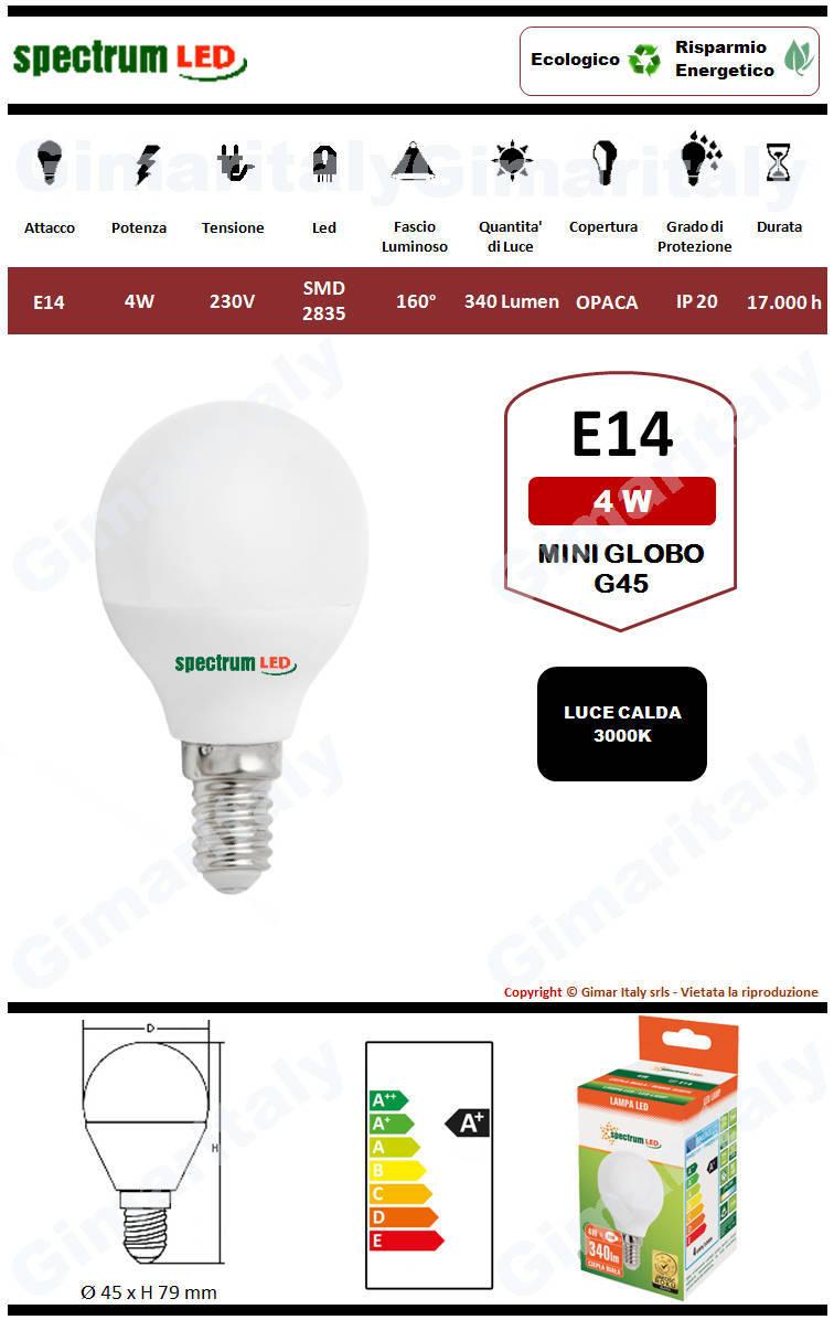 Lampadina Led E14 miniglobo G45 4W luce calda Spectrum
