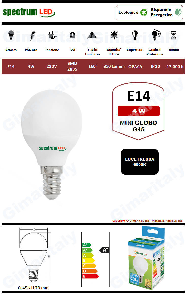 Lampadina Led E14 miniglobo G45 4W luce fredda Spectrum