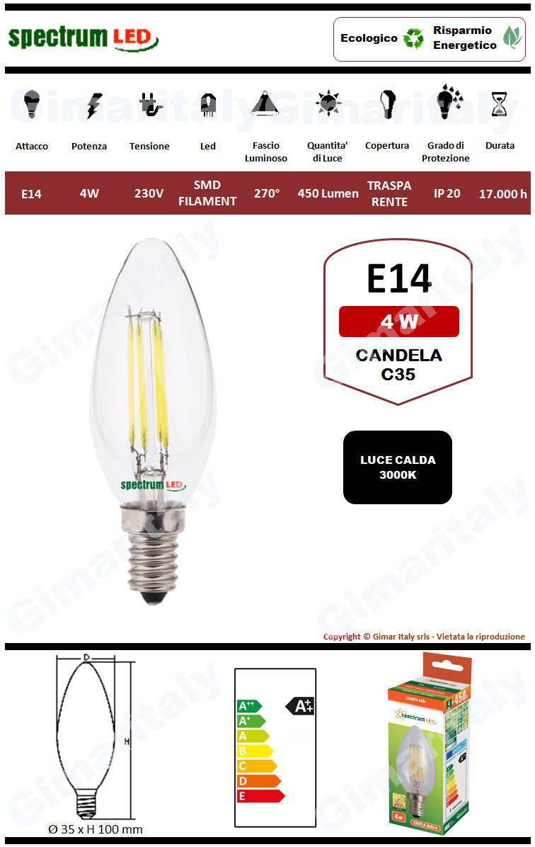 Lampadina Led E14 4W Candela C35 Filamento Spectrum