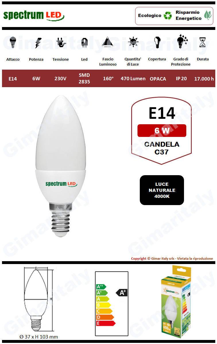 Lampadina Led E14 candela C37 6W luce naturale Spectrum