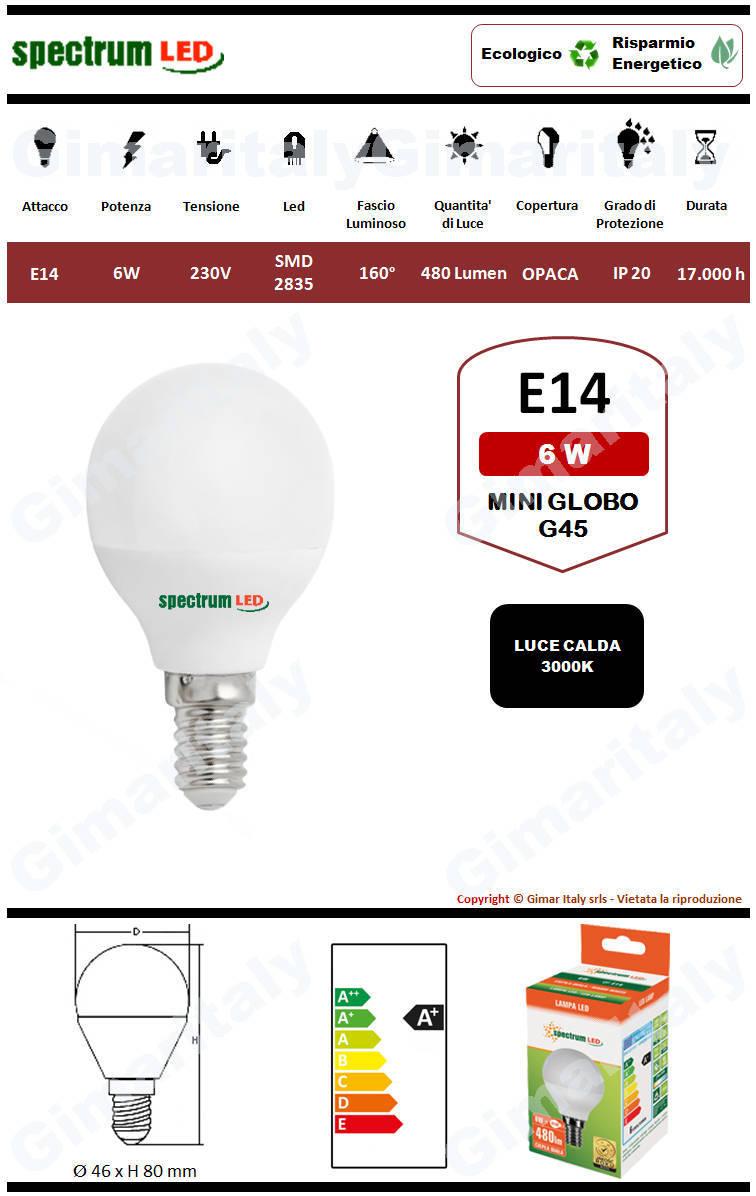 Lampadina Led E14 miniglobo G45 6W luce calda Spectrum