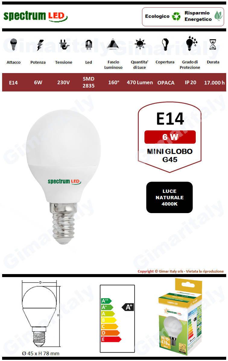 Lampadina Led E14 miniglobo G45 6W luce naturale Spectrum