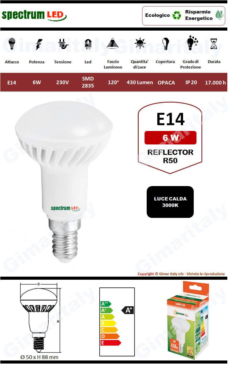 Lampadina Led E14 6W R50 Reflector luce calda Spectrum