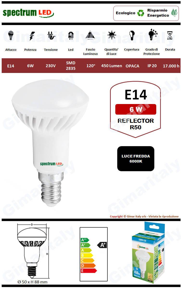 Lampadina Led E14 6W R50 Reflector luce bianca Spectrum