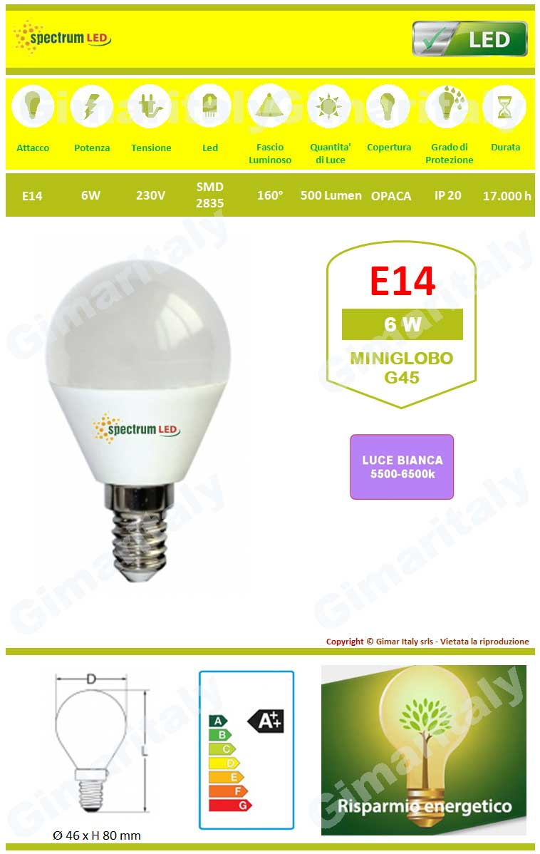 Lampadina led e14 6w miniglobo g45 luce bianca spectrum for Led luce bianca